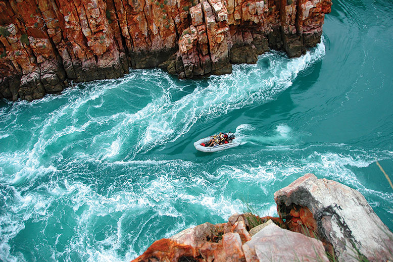 Coral Expeditions Zodiac in horizontal falls